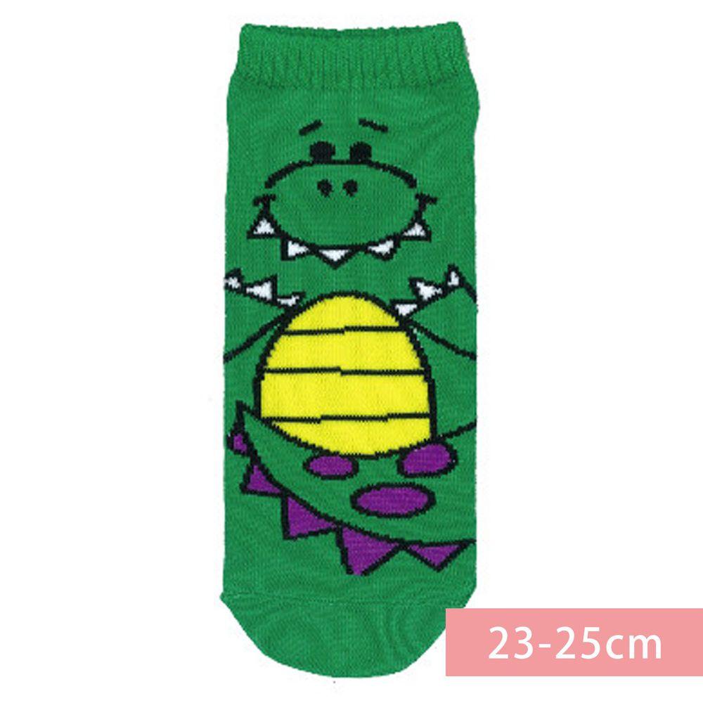 日本 OKUTANI - 童趣日文插畫短襪-恐龍-綠 (23-25cm)