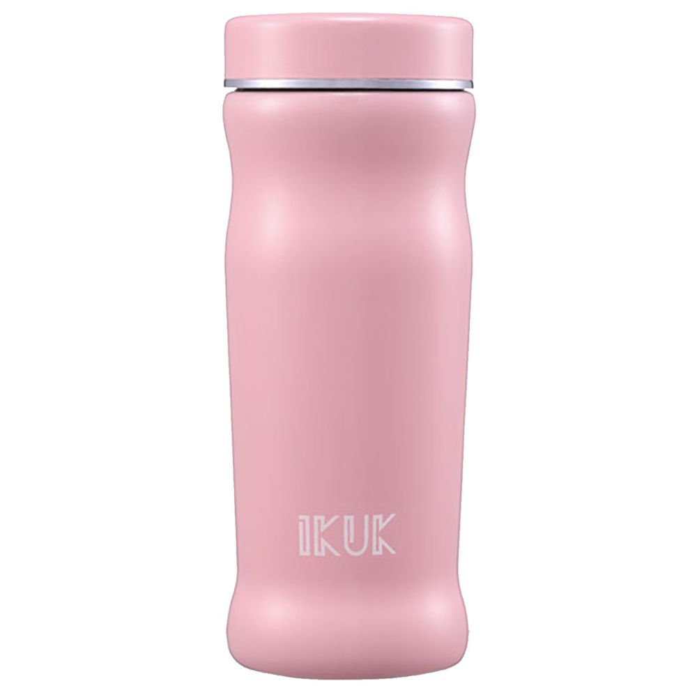 IKUK - 真空雙層內陶瓷曲線保溫杯-粉紅色 (300ML)