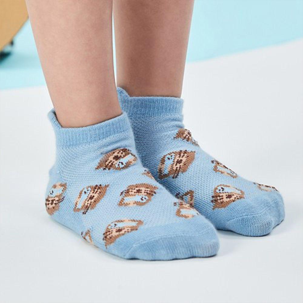 minihope美好的親子生活 - 抗菌除臭萊卡短襪(親子襪)-網眼水獺-粉藍