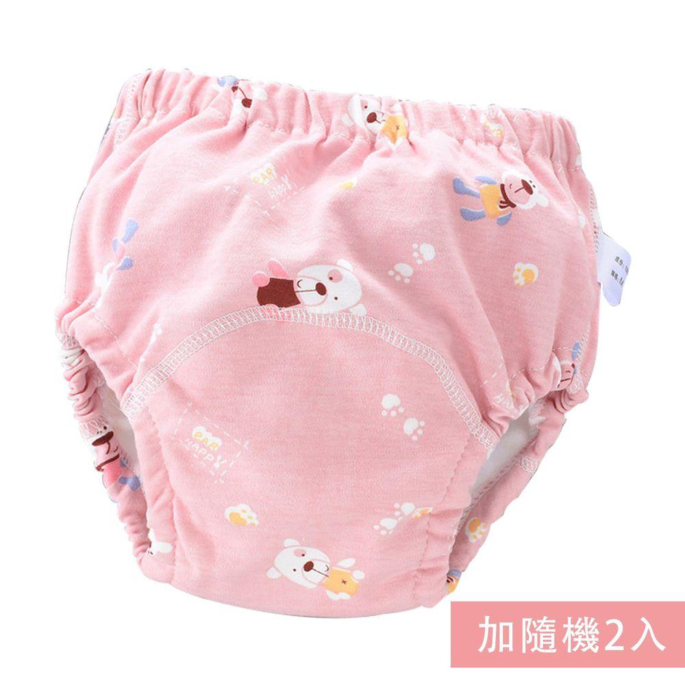 JoyNa - 可愛印花六層紗4層學習褲-3件入-粉色小熊+隨機2入