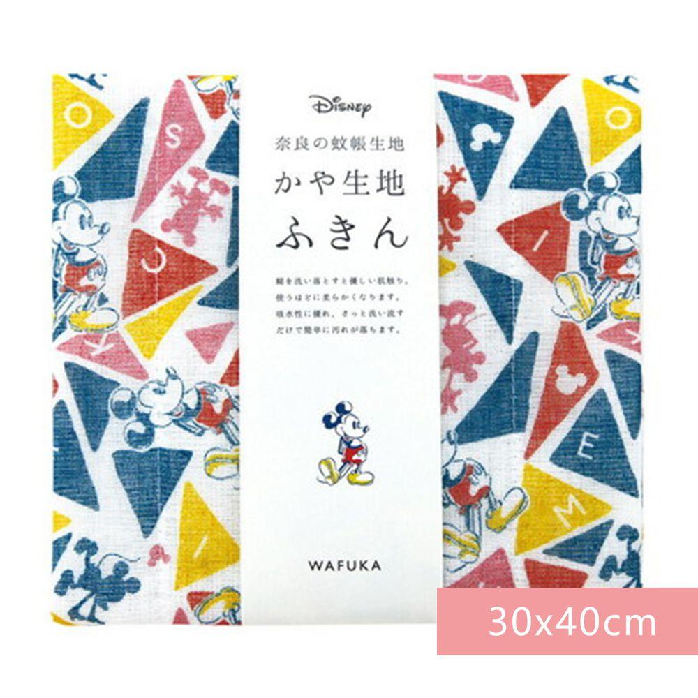 日本代購 - 【和布華】日本製奈良五重紗 方巾-彩色三角米奇 (30x40cm)