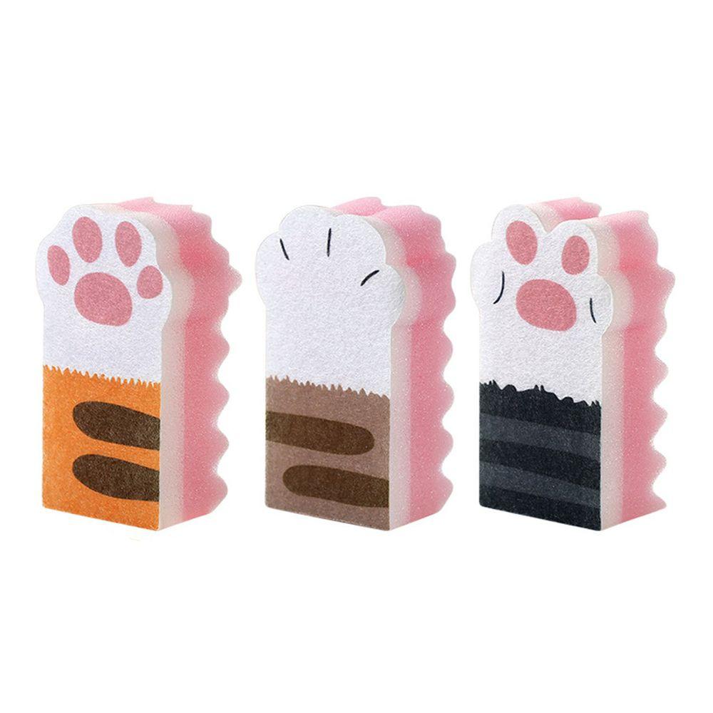 貓爪海綿碗盤清潔刷-3入組-粉紅色