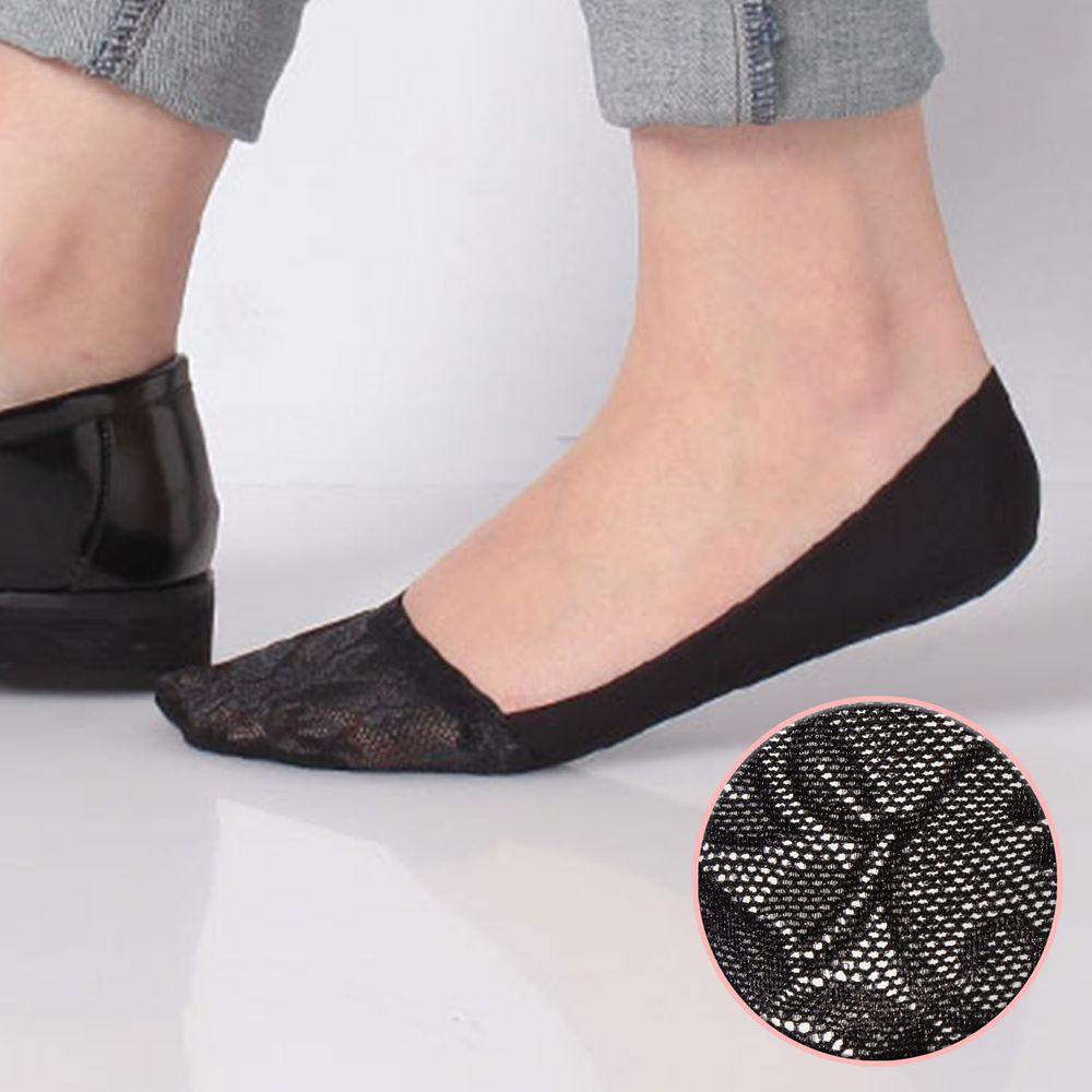 日本 okamoto - 超強專利防滑ㄈ型隱形襪-深履款-黑蕾絲 (23-25cm)-足底棉混