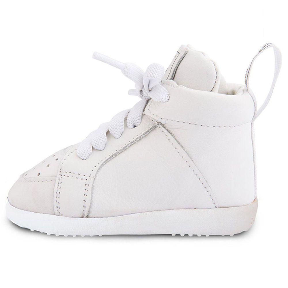 英國 shooshoos - 健康無毒真皮手工學步鞋/童鞋-簡約素面白