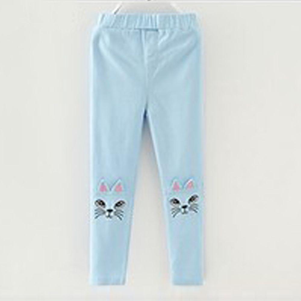 日本 Maison de Ravi - 貓咪刺繡長褲-水藍