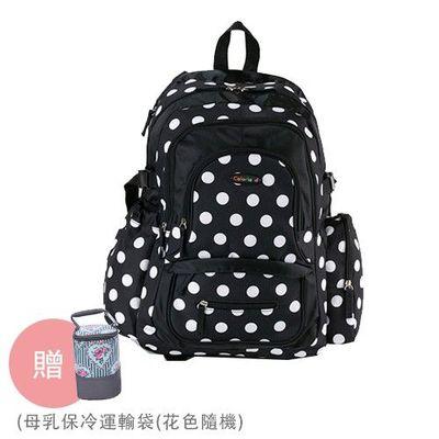 『經典款』加大升級版後背媽媽包-贈母乳保冷運輸袋(花色隨機)-黑色圓點-三件組(掛車扣+濕物袋+隔尿墊)