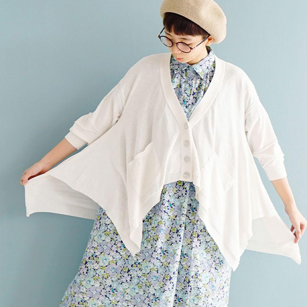 日本 zootie - 涼感防曬速乾 不規則剪裁罩衫/外套-天使白