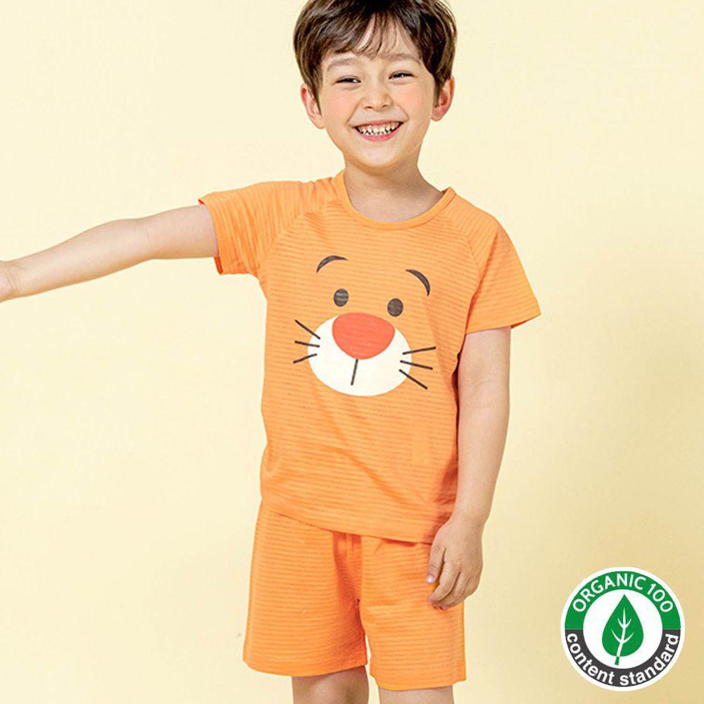 韓國 Maykids - 有機棉緹花短袖家居服-橘色老虎