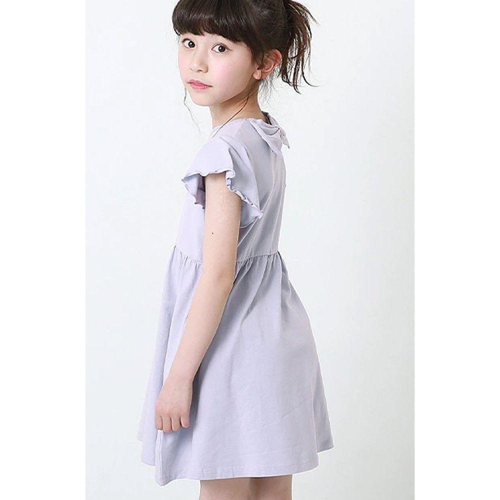 日本 devirock - 純棉木耳邊短袖小洋裝-淺薰衣草