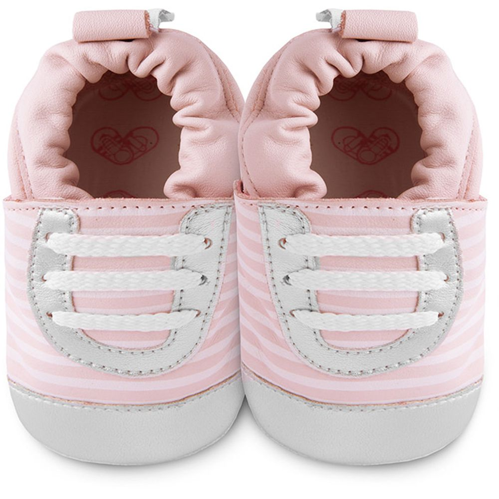 英國 shooshoos - 健康無毒真皮手工鞋/學步鞋/嬰兒鞋/室內鞋/室內保暖鞋-粉銀斑馬紋運動型