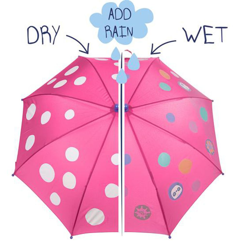 英國 Squid Kids - 變色雨傘-小圓點-粉紅