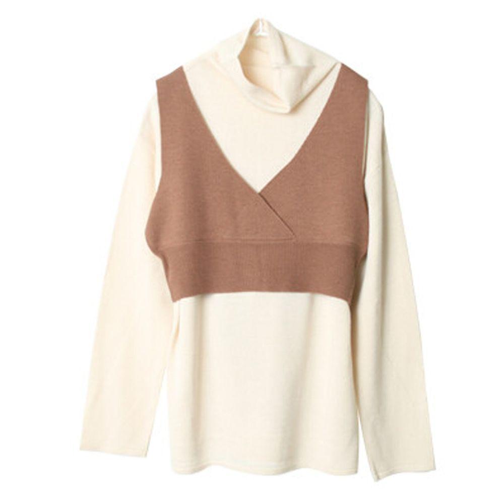 日本女裝代購 - 後蝴蝶結綁帶短版針織背心X長袖高領兩件組-焦糖棕 (M(Free size))