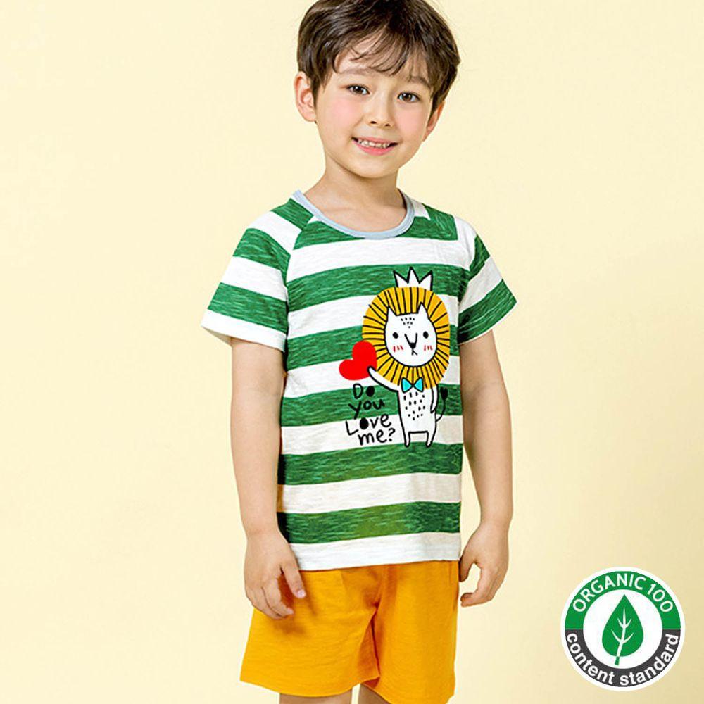 韓國 Maykids - 有機棉細柔短袖袖家居服-條紋獅子