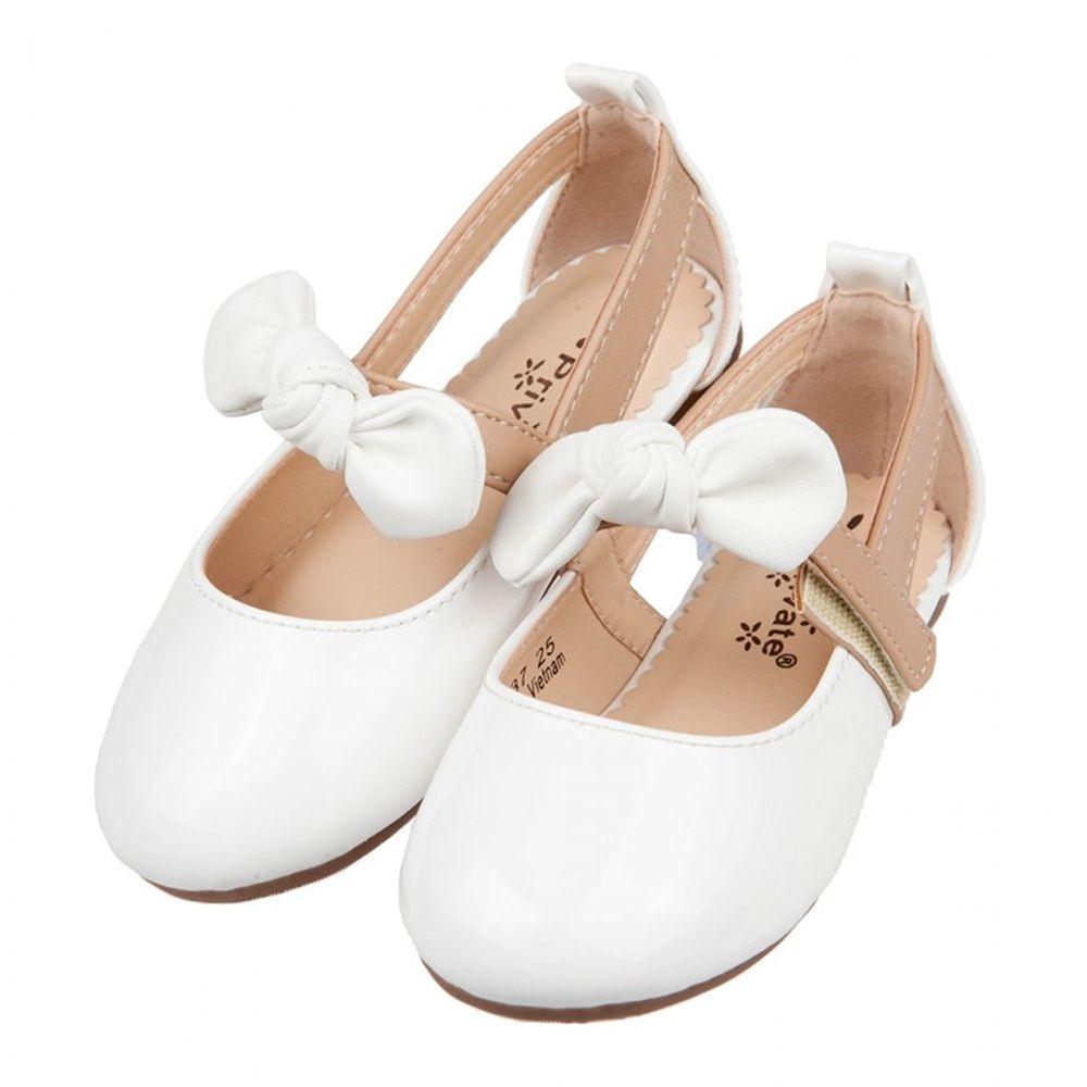 甜美風格蝴蝶結白色亮皮兒童娃娃鞋公主鞋