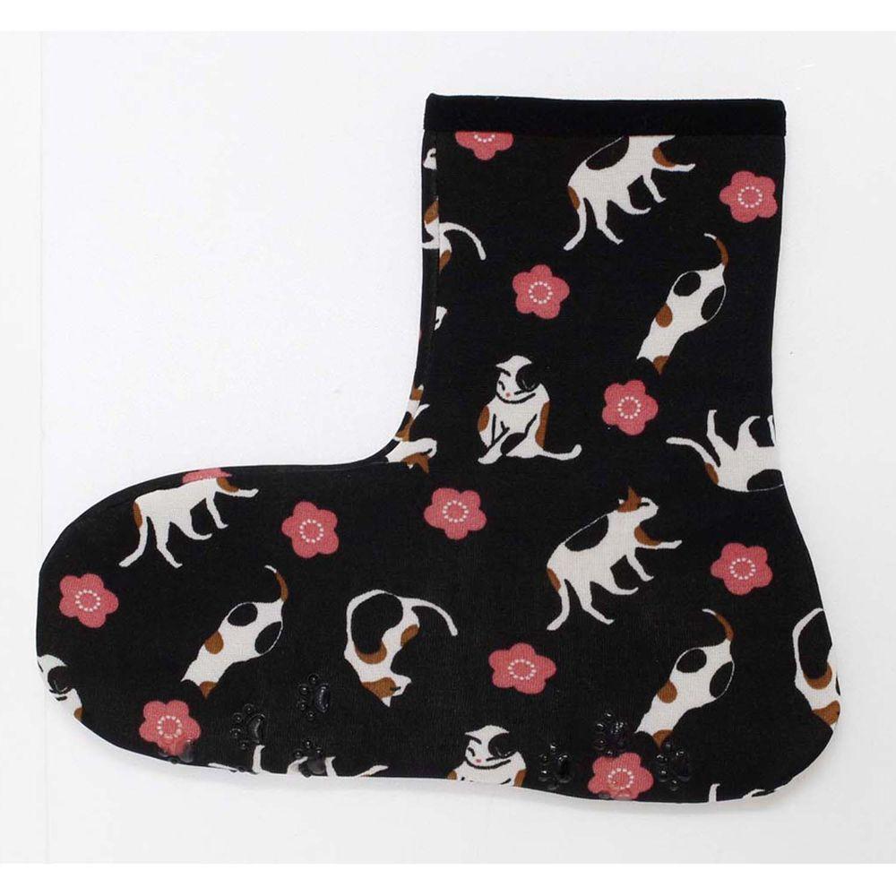 日本丸和 - 雙層機能裏起毛防滑室內襪-花貓-黑 (21-25cm)-短筒