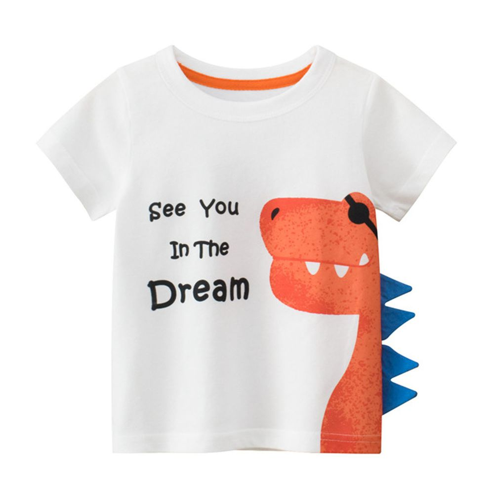 純棉短袖上衣-3D夢想橘龍-米白色