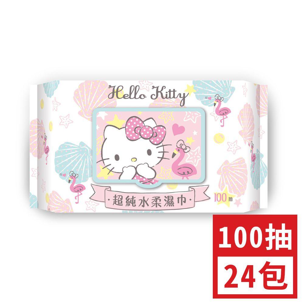 HELLO KITTY - 加蓋Hello Kitty超純水柔濕巾-100抽(箱購)-24包/箱