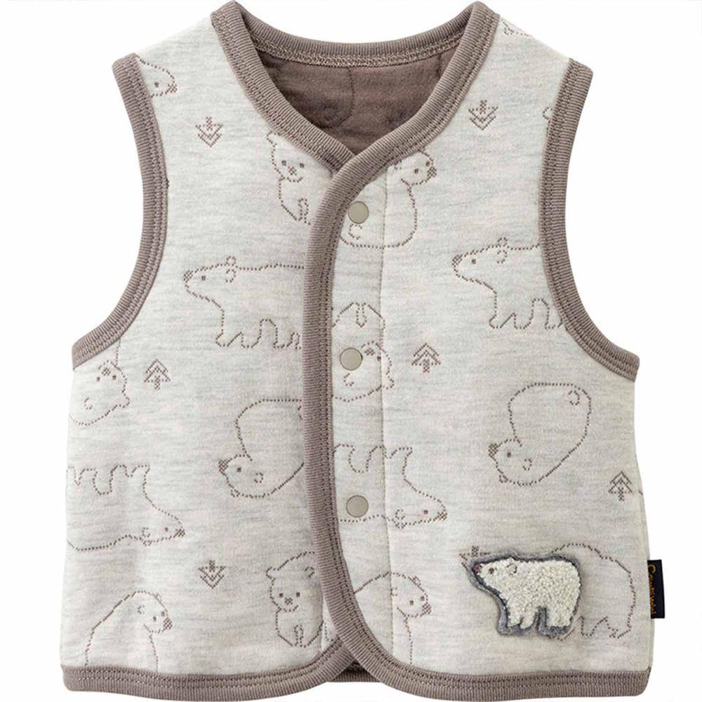 日本 Combi - mini系列-厚棉保暖背心-北極熊-香草卡士達