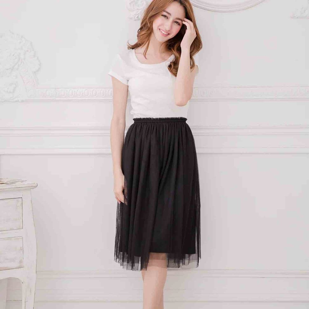 Peachy - 獨家訂製綿柔半身紗裙-半身中長版-華麗黑 (F)