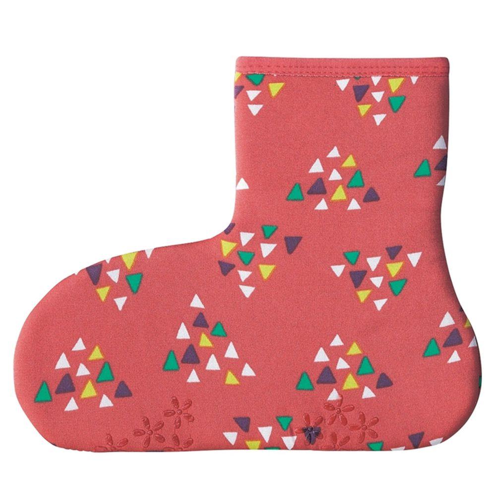 日本丸和 - 雙層機能裏起毛防滑室內襪-三角幾何-粉紅 (21-25cm)-短筒
