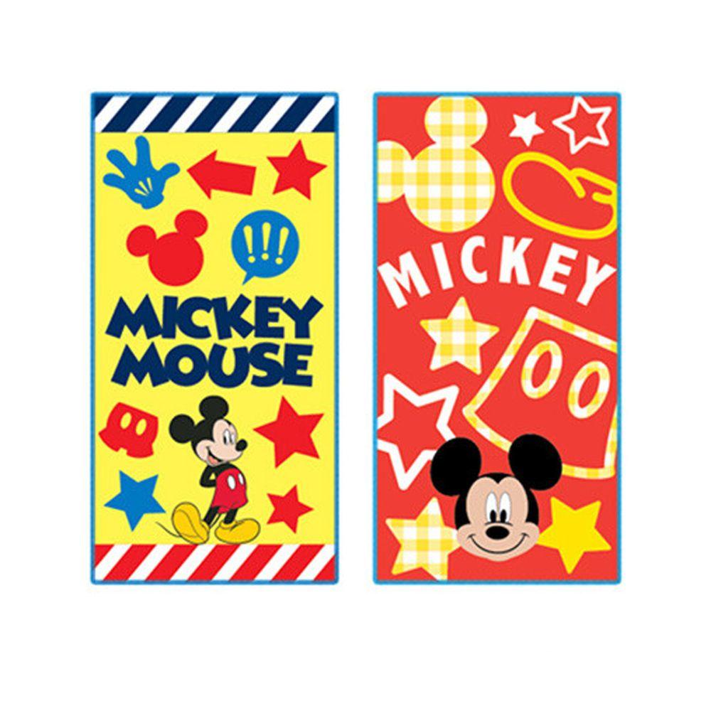 日本代購 - 長方形小手帕/毛巾兩入組-米奇-紅黃 (10×20cm)