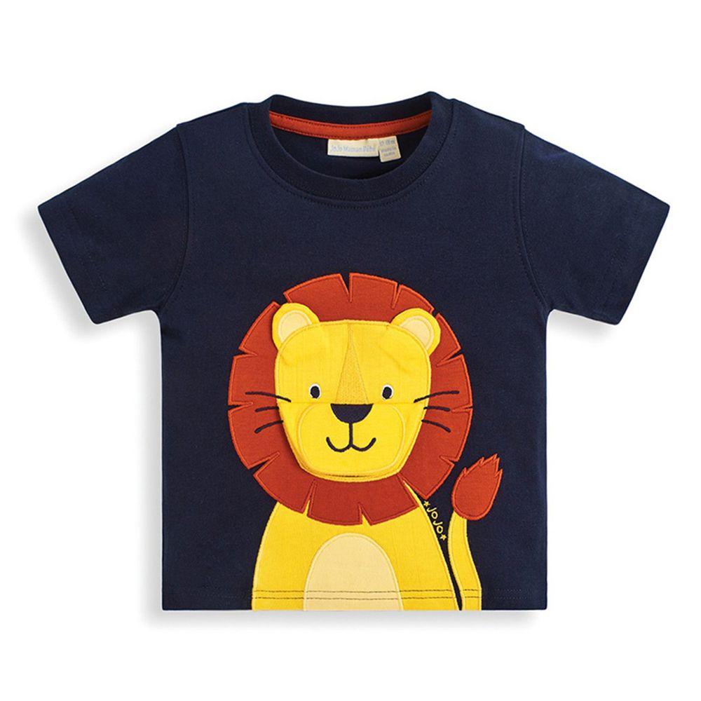 英國 JoJo Maman BeBe - 超優質嬰幼兒/兒童100%純棉短袖上衣/T-shirt/動物T-帥氣獅子