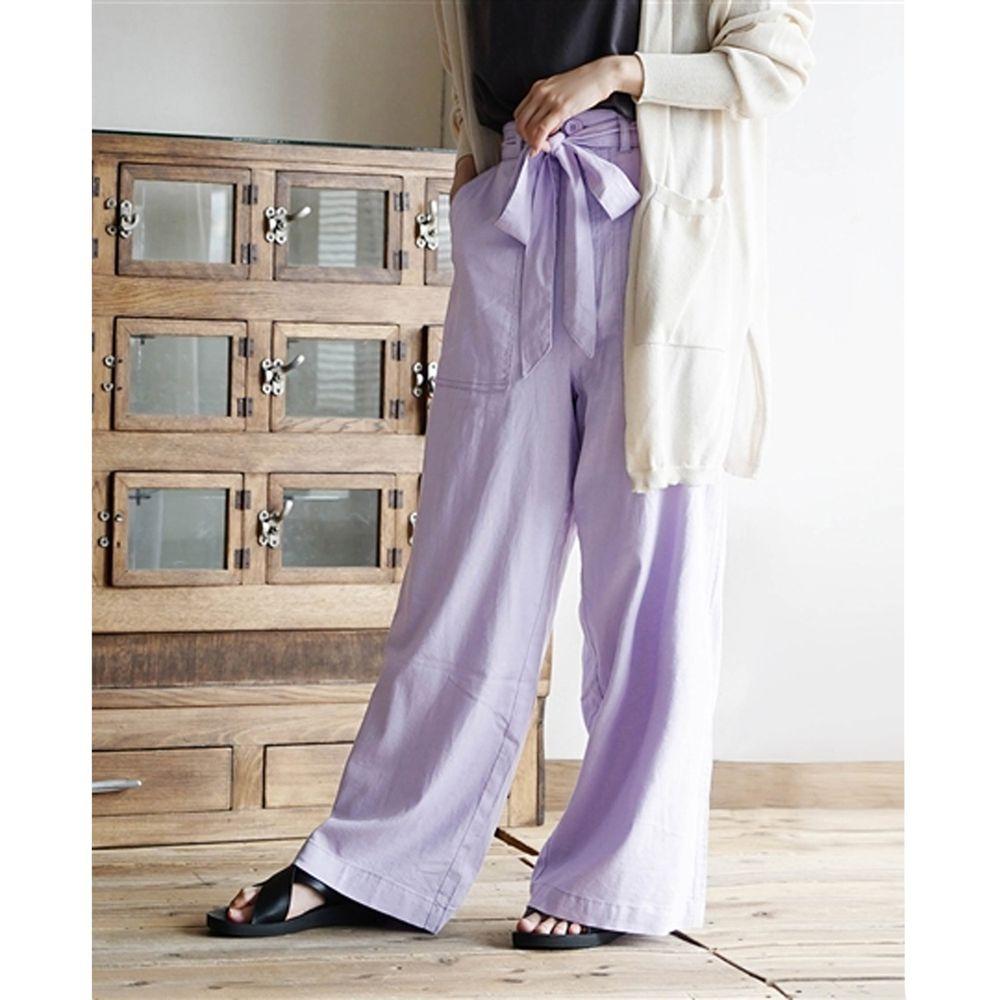 日本 zootie - 麻料舒適綁帶寬褲-粉紫