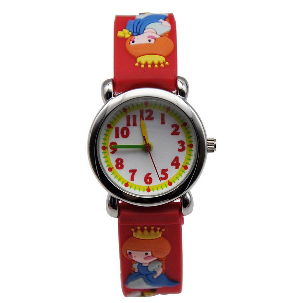 3D立體卡通兒童手錶-經典小圓錶-紅色公主