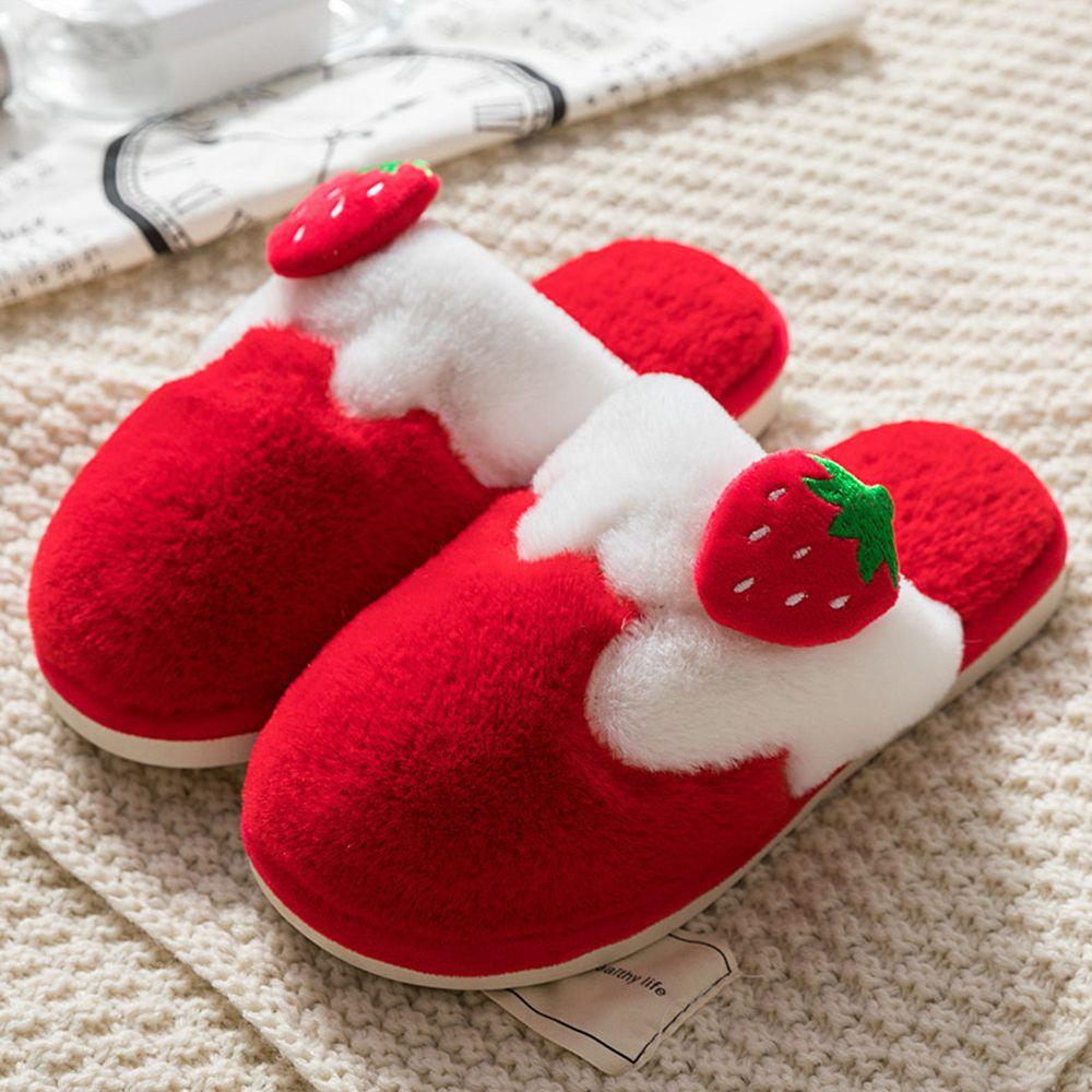 親子防滑保暖毛毛拖鞋-草莓