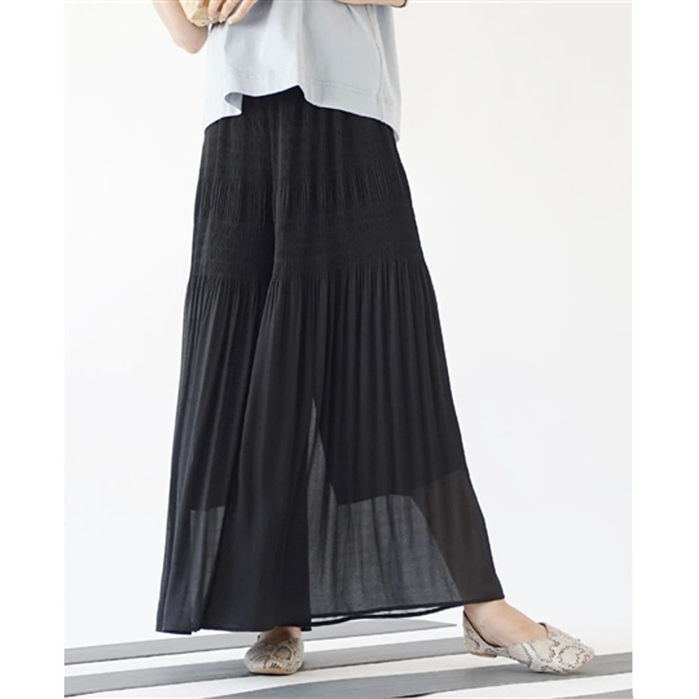 日本 zootie - 層次感打褶超寬褲-黑 (M)