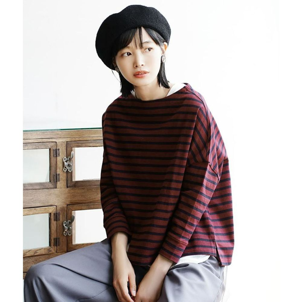 日本 zootie - [撥水/撥油加工] 抗油污耐洗純棉長袖上衣-條紋-酒紅