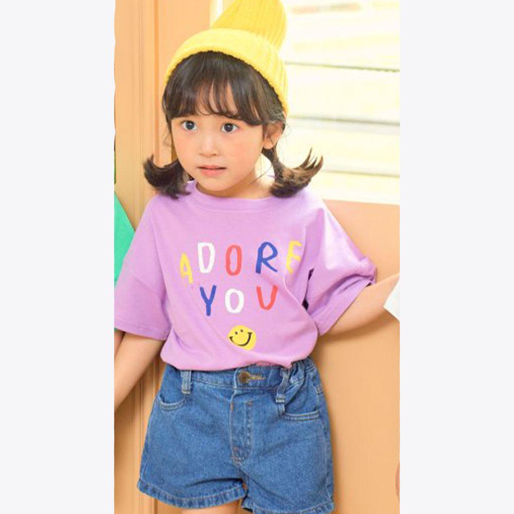 韓國 Hanab - 彩色字母笑臉純棉T-粉紫