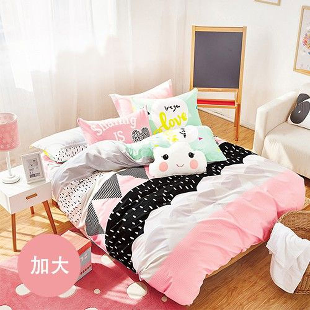 PureOne - 極致純棉寢具組-愛茉莉-加大四件式床包被套組