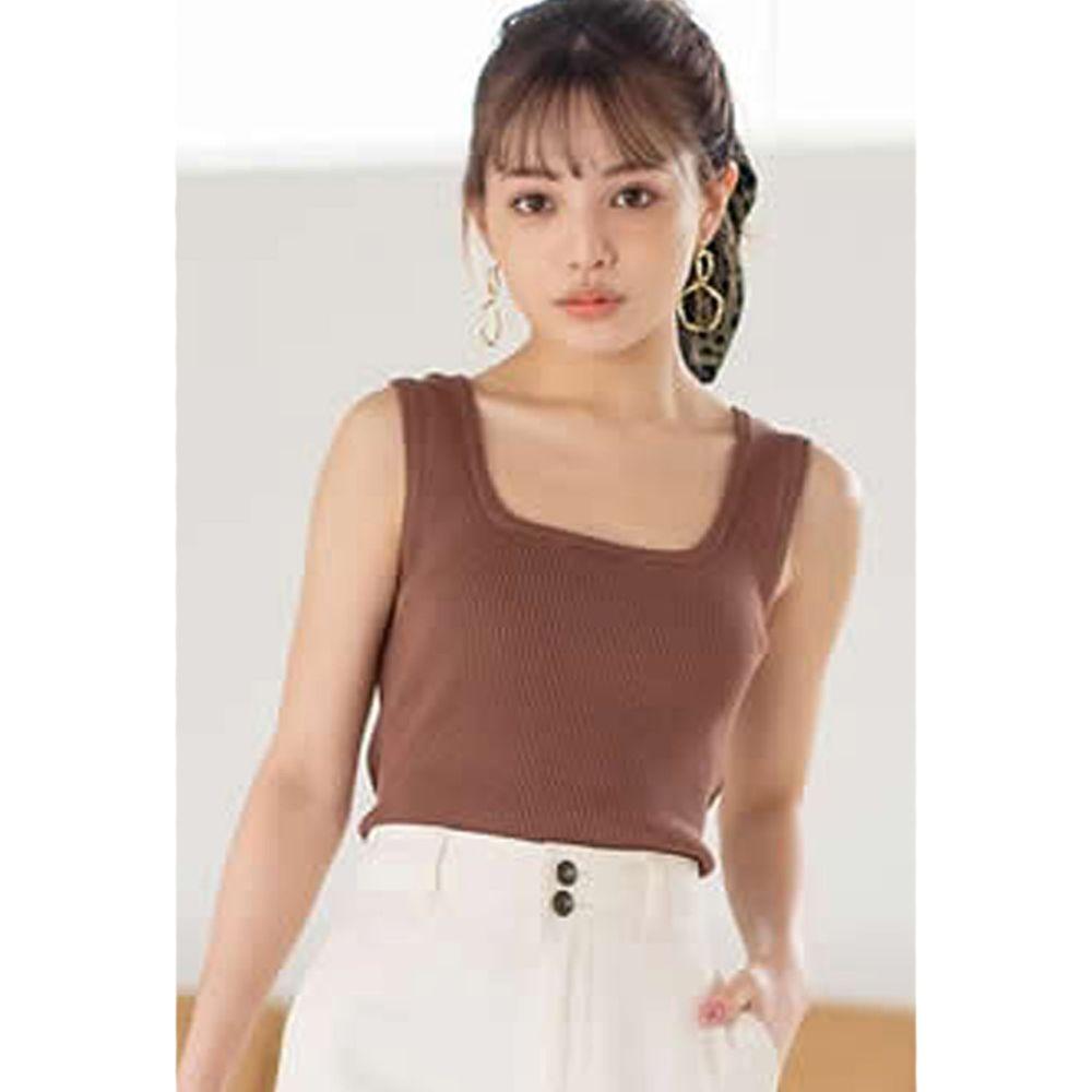 日本 GRL - 美背露腰大蝴蝶結綁帶無袖上衣-焦糖棕