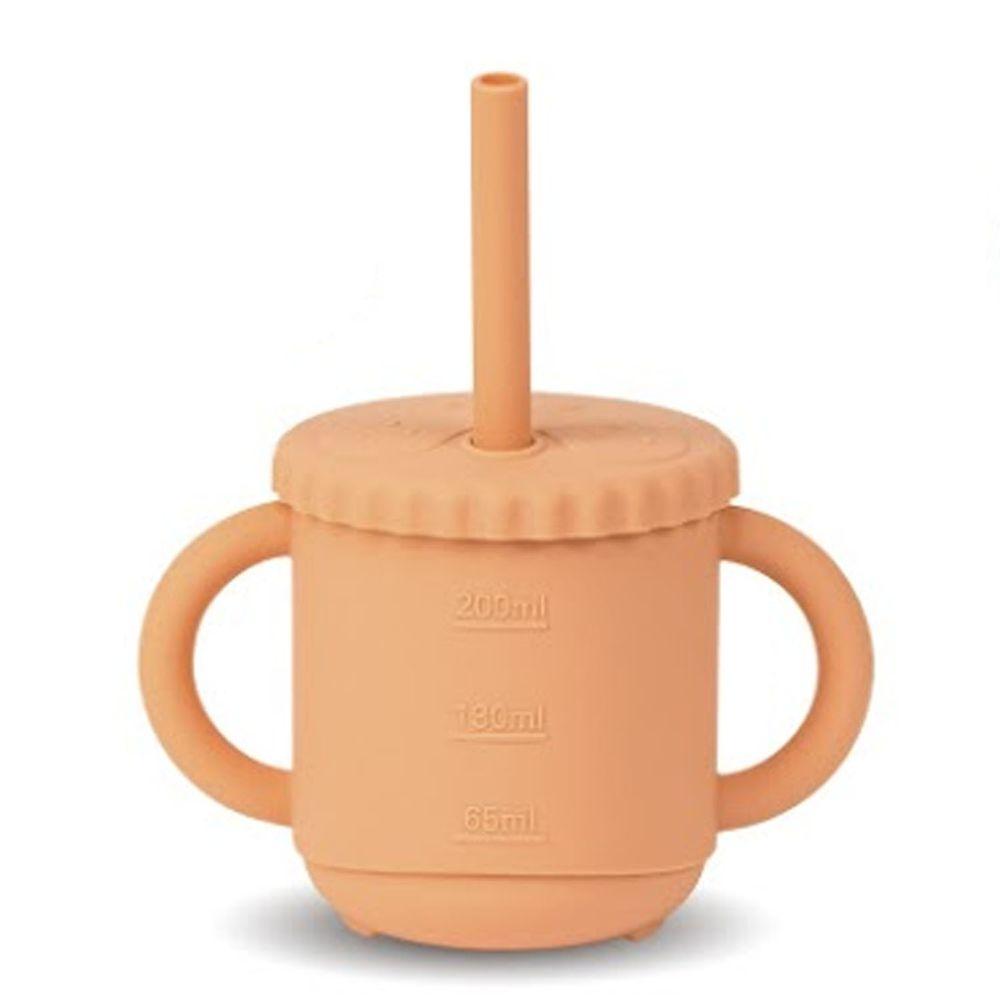 KOM - 台灣製矽膠環保無毒寶寶學習杯一入-軟糖橘 (270ml)