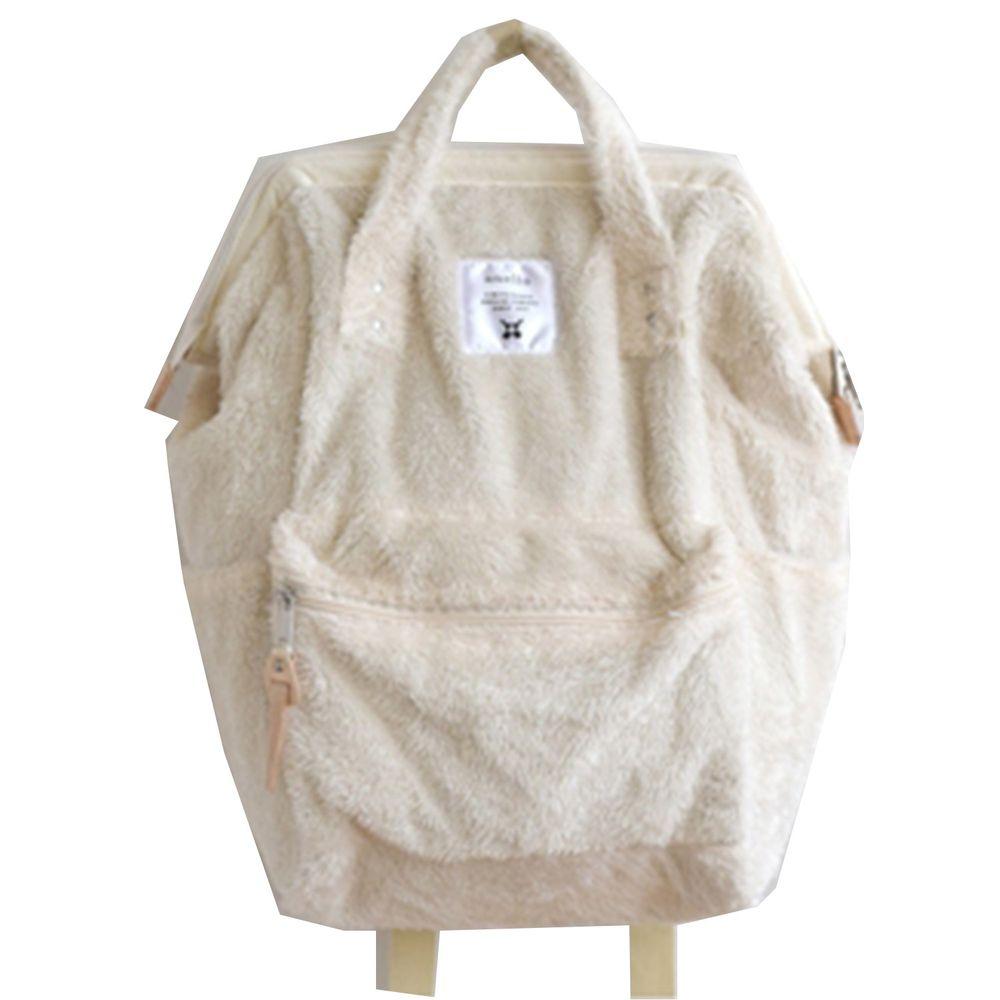 日本 Anello - 大開口毛毛後揹包-Regular大尺寸-IV米白