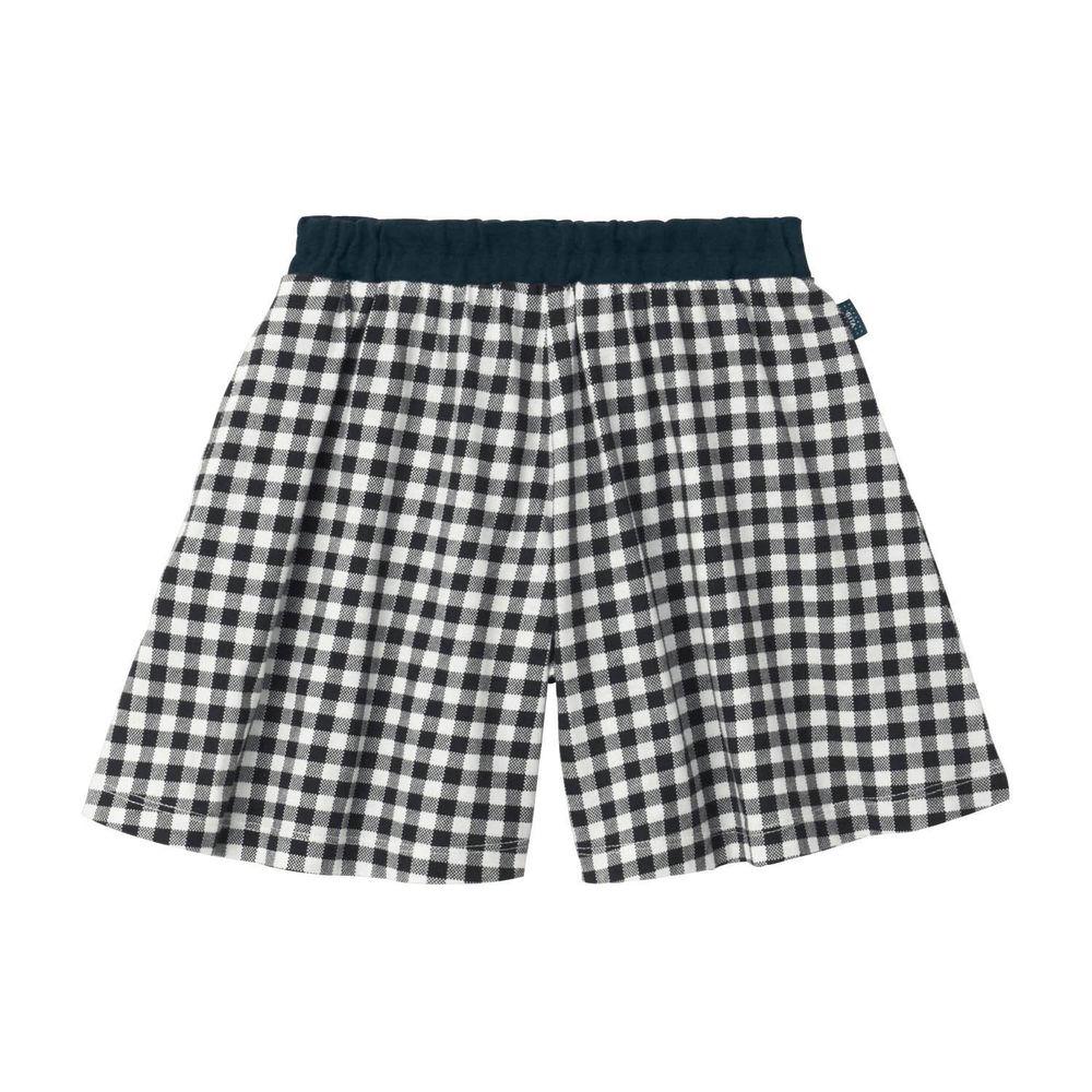 日本千趣會 - GITA 純棉輕薄舒適傘狀短褲裙-格子-黑白