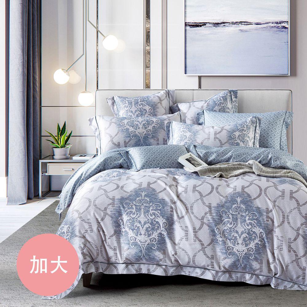 PureOne - 吸濕排汗天絲-飛鸞-加大四件式床包鋪棉被套組