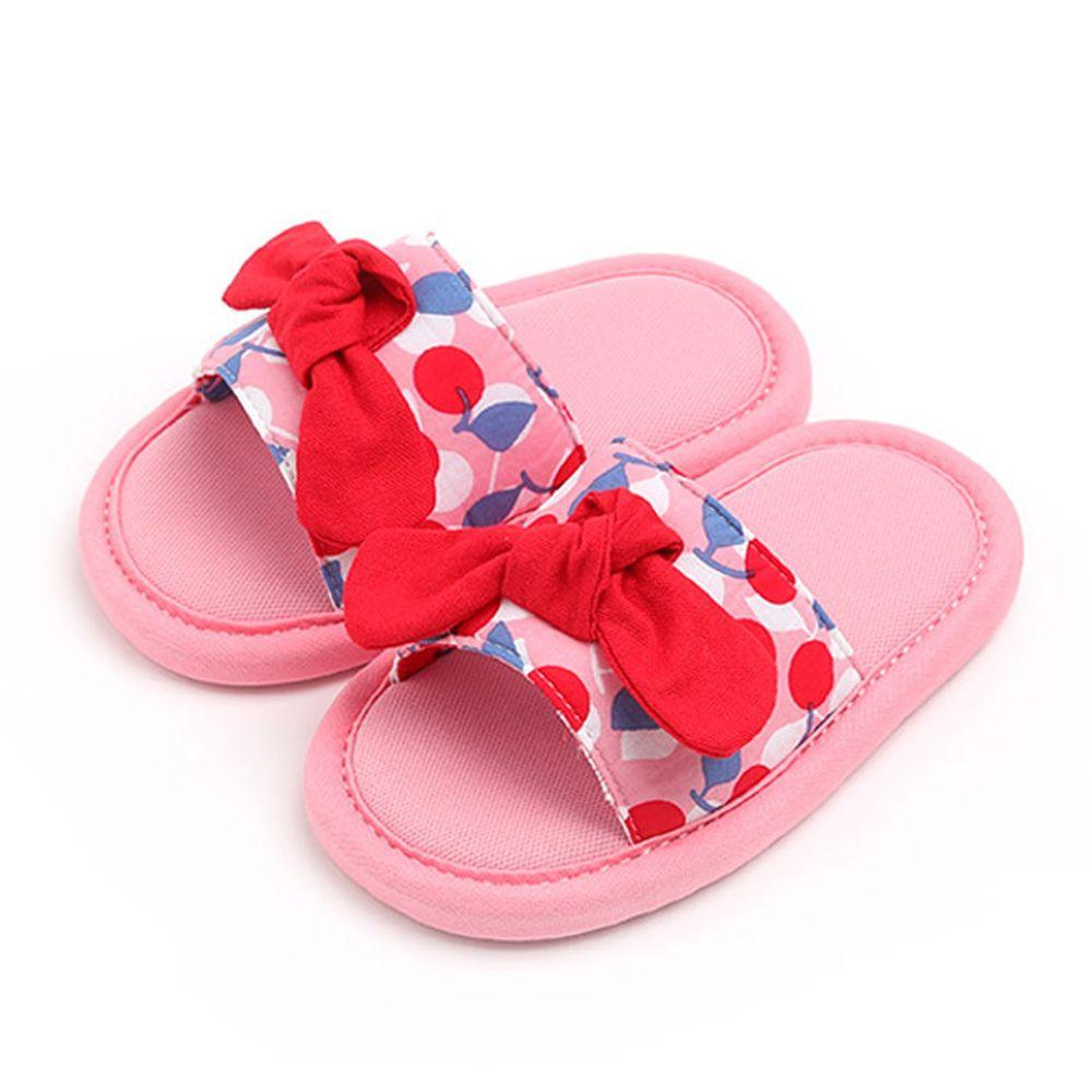 韓國 OZKIZ - 消音防滑室內鞋-拖鞋款(蝴蝶結)-粉紅