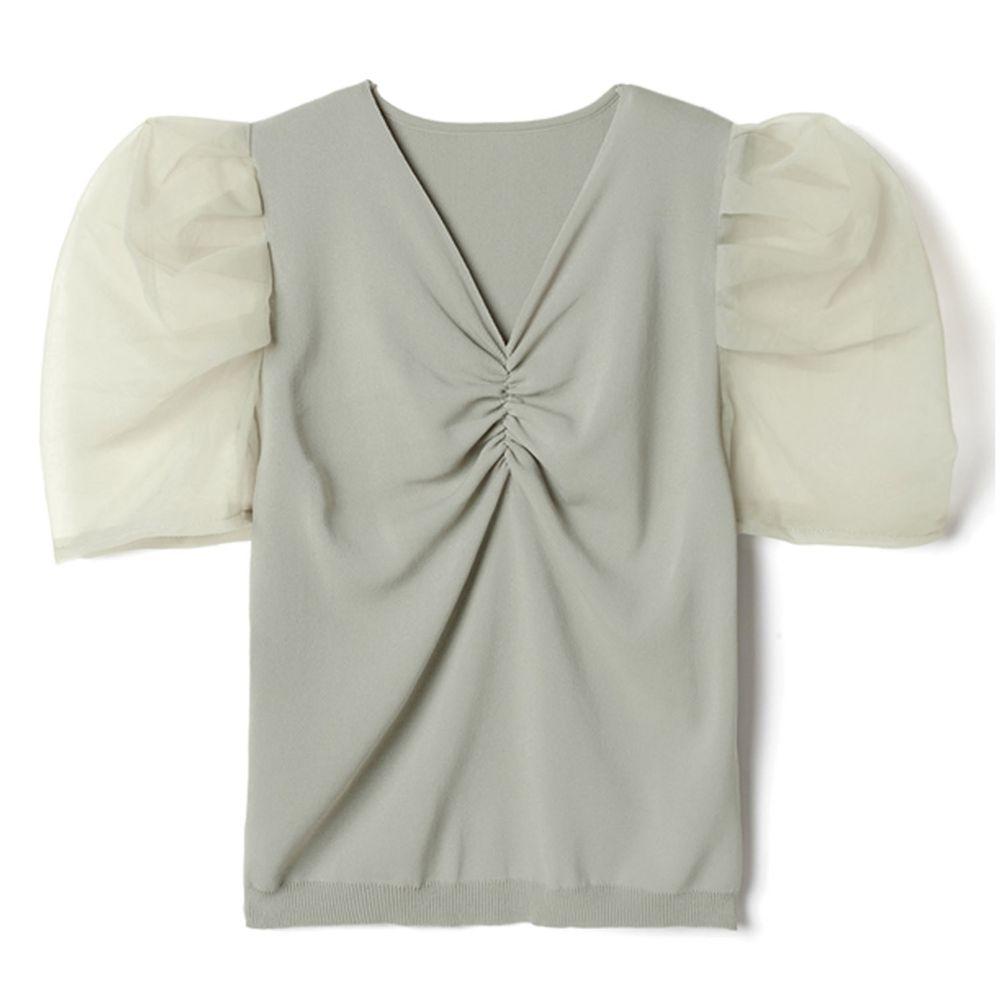 日本 GRL - 浪漫薄紗抓皺V領短袖上衣-莫蘭迪綠 (F)