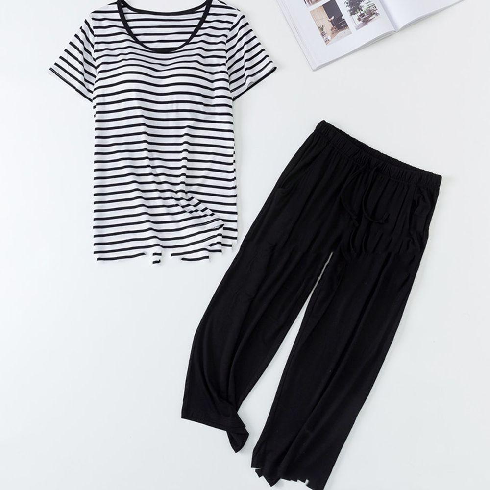 莫代爾柔軟涼感Bra T家居服-七分褲套裝-黑白條紋