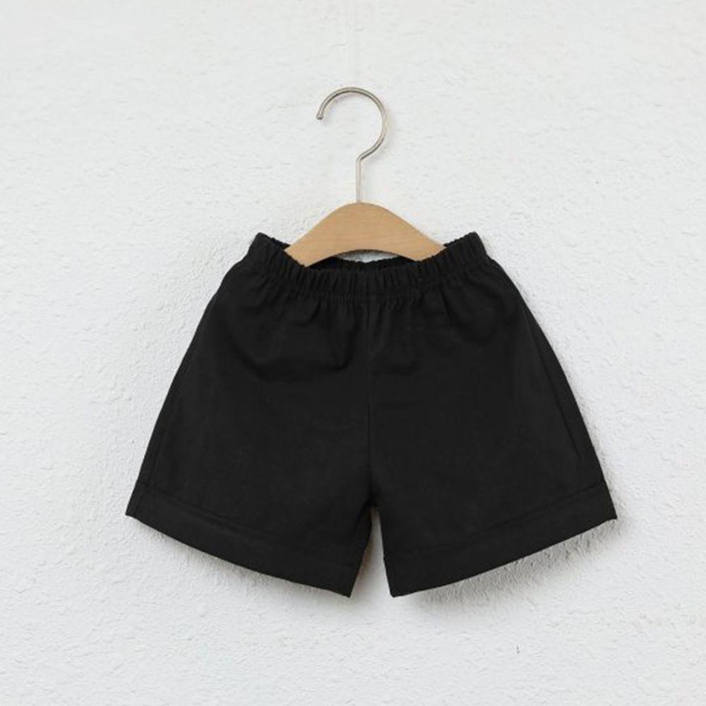 韓國製 - 水洗加工布鬆緊褲頭短褲-黑