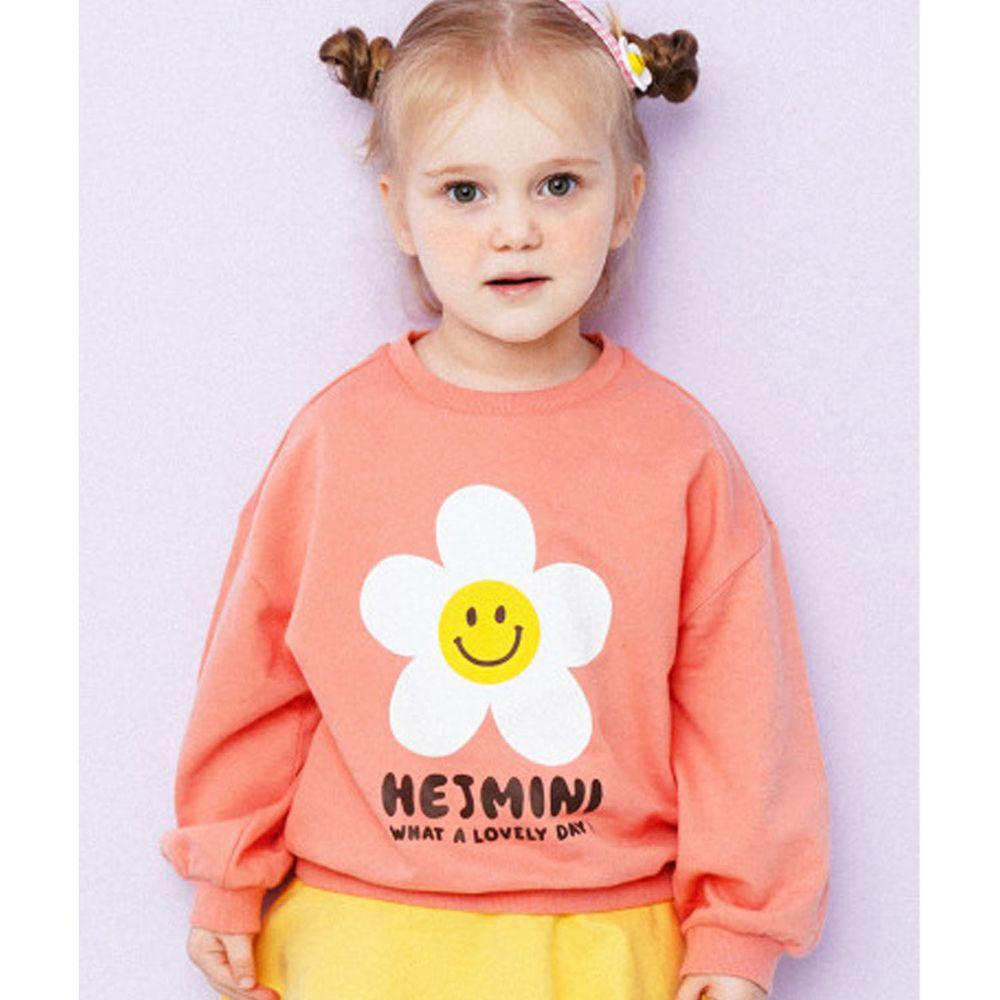 韓國 HEJMINI - 笑臉花朵泡泡袖上衣-珊瑚粉