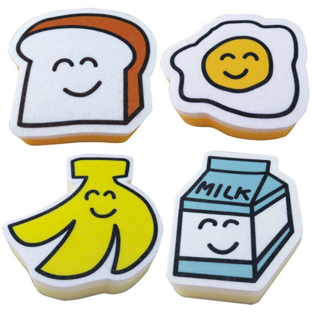 日本 OKUTANI - 童趣插畫洗碗海綿4件組-食物系列
