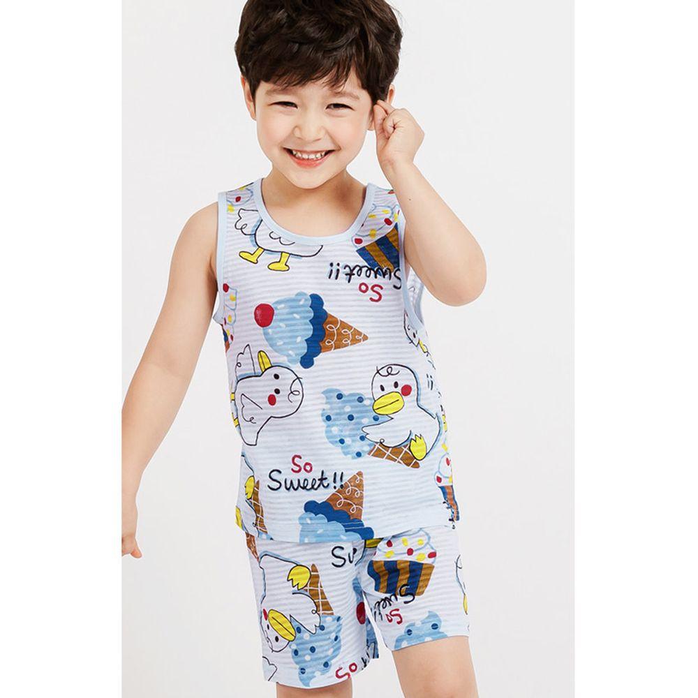 韓國 Mellisse - 韓製輕薄透氣無袖家居服(無螢光棉)-鴨鴨愛吃冰淇淋-藍
