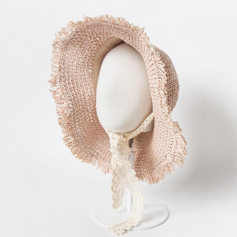 韓國 Babyblee - 鬚邊蕾絲大草帽-玫瑰粉 (頭圍:51-53cm)
