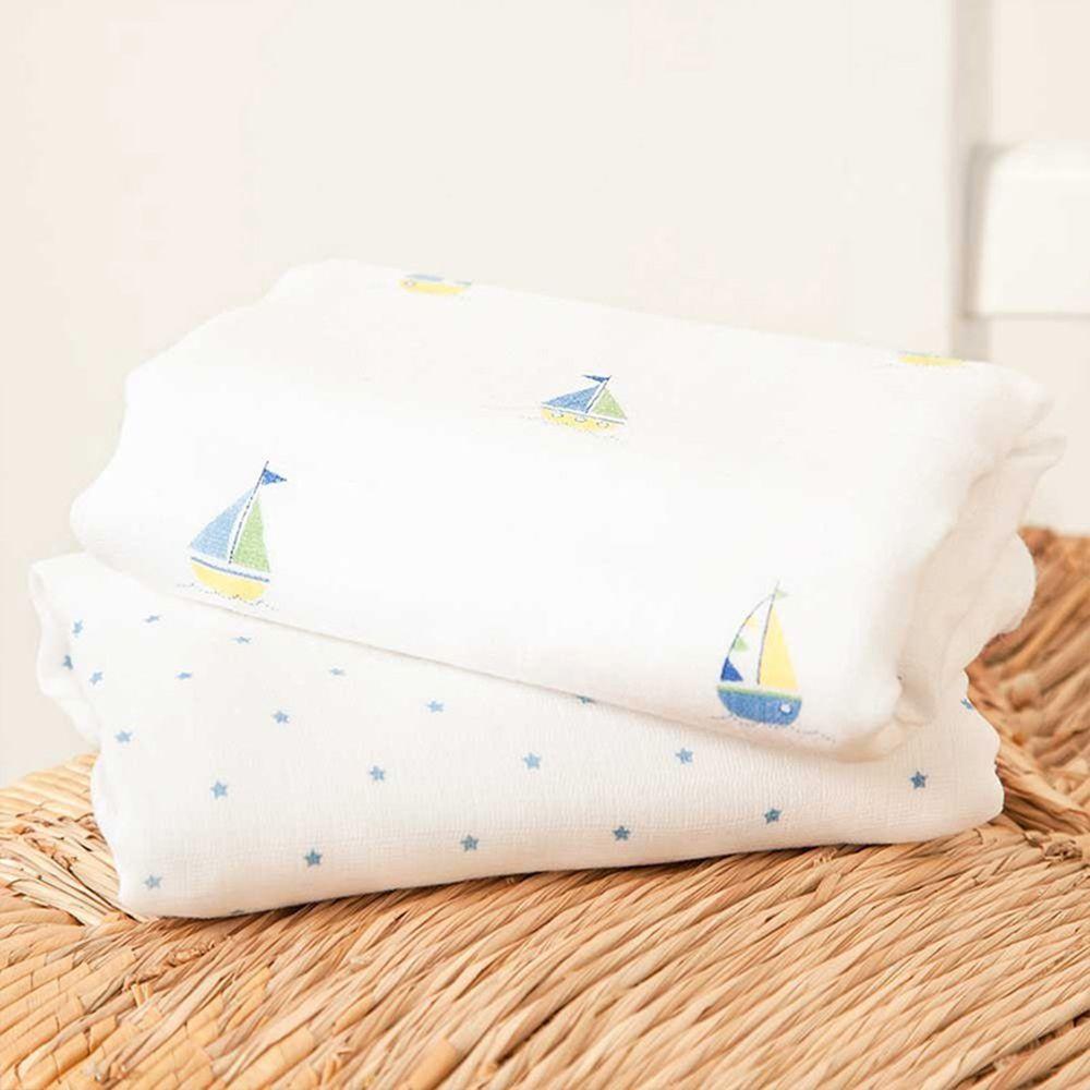 英國 JoJo Maman BeBe - 100% 純棉多功能細紗布包巾/小薄被/拍嗝巾2入組(120*120cm)-帆船風情