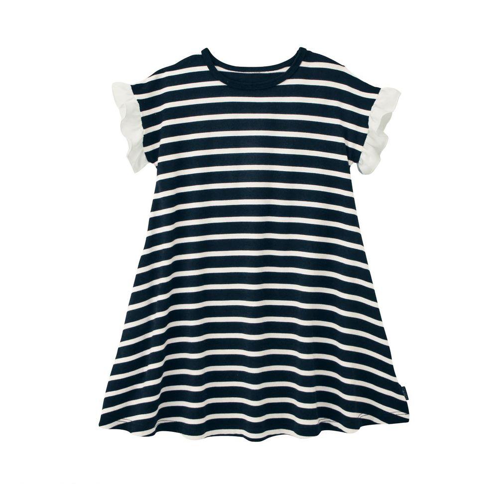 日本千趣會 - GITA 荷葉邊拼接條紋短袖洋裝-黑