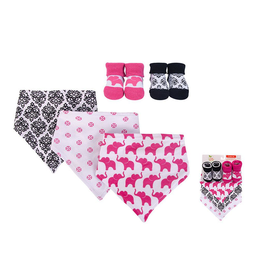 美國 Luvable Friends - 100%純棉三角領巾3入組+短襪2入套裝組-桃紅大象