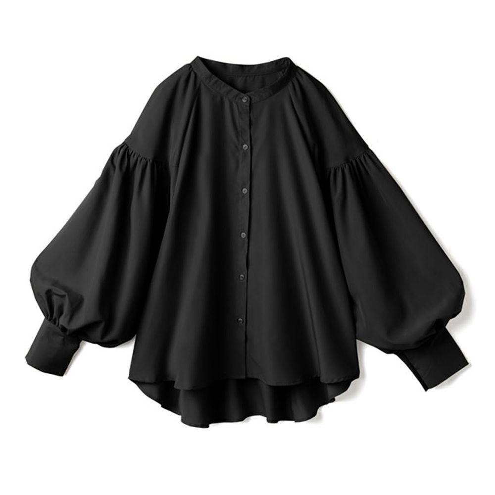 日本 GRL - 落肩顯瘦大澎袖束口長袖襯衫-黑